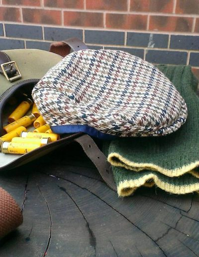Tweed brown check flat cap