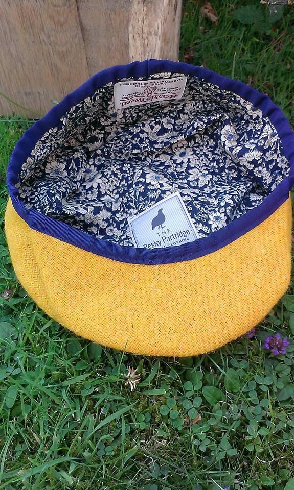 Mustard yellow Harris tweed flat cap with navy trim