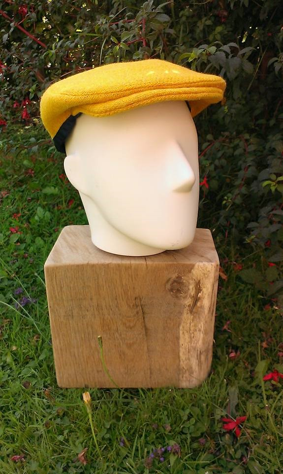 Mustard yellow Harris tweed flat cap