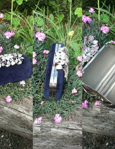 Navy velvet with floral diamanté clasp clutch bag