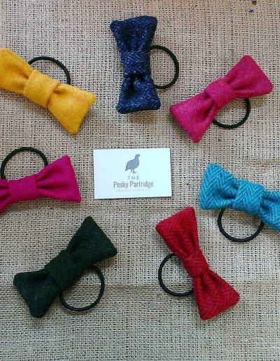 Tweed hair bows on elastics