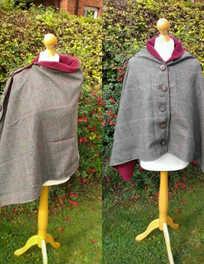 Tweed and fleece lined poncho