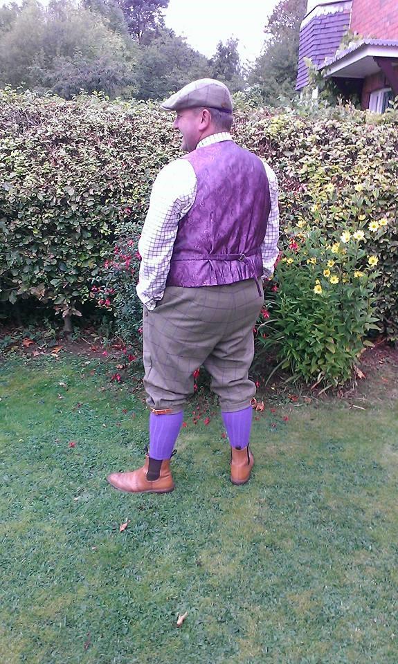 Mens bespoke tweed shooting breeks and waistcoat back
