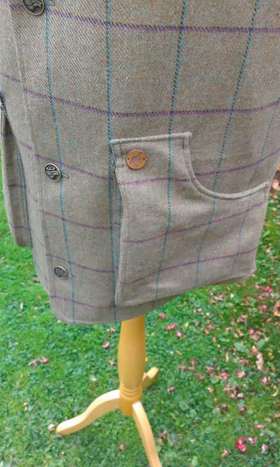 Mens bespoke tweed shooting vest pocket detail
