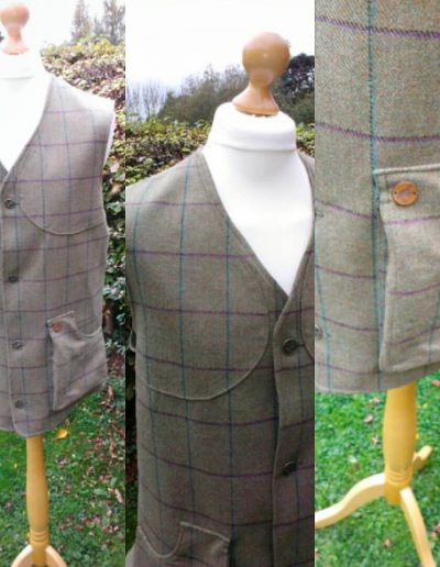 Mens bespoke tweed shooting vest