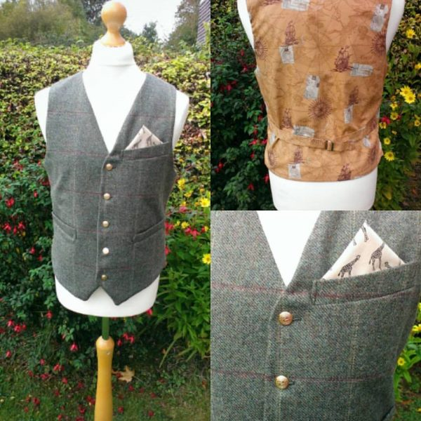 Bespoke tweed waistcoat with travel inspired back and lining.