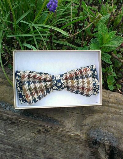 Brown check bow tie