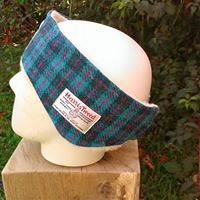 Turquoise check tweed ear warmer