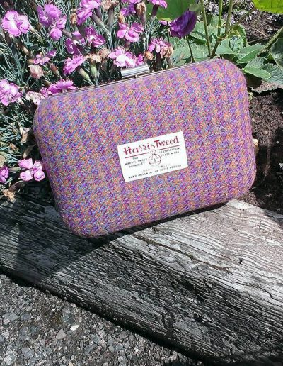 Harris tweed purple clutch bag