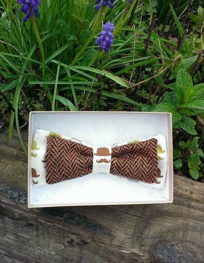 Brown tweed bow tie
