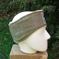 Fine pink and blue check on green tweed ear warmer