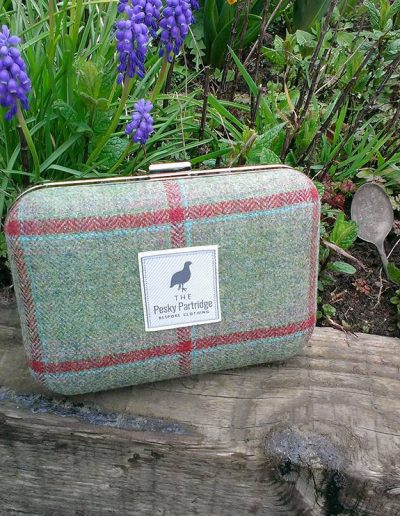 Red check tweed clutch bag