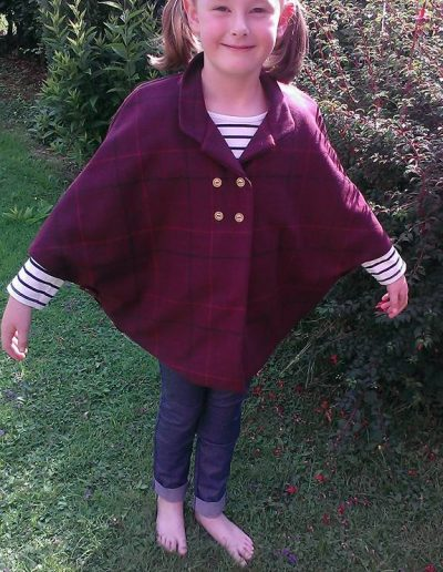 Girls burgundy tweed cape