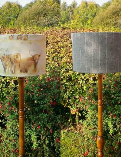 Grey tweed lampshade and highland cattle lampshade