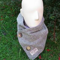 Grey Harris tweed neck warmer