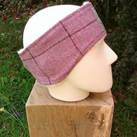 Pink tweed ear warmer