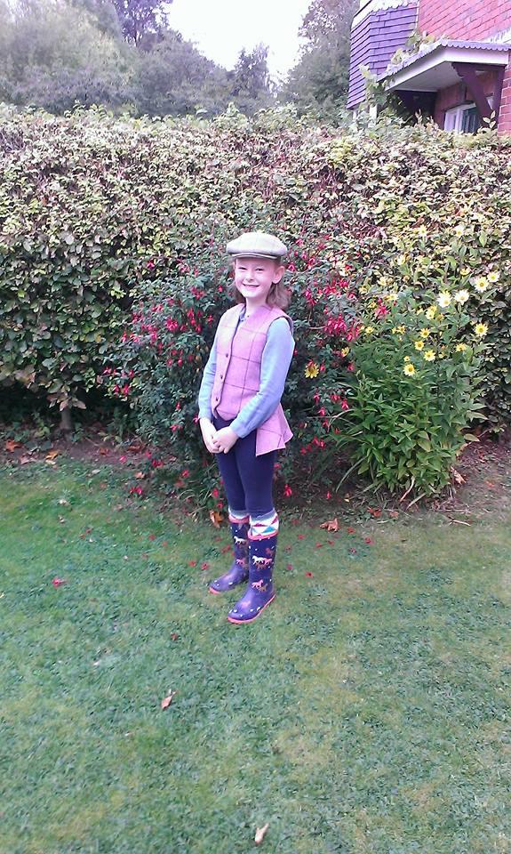 Girls bespoke tweed peplum waistcoat