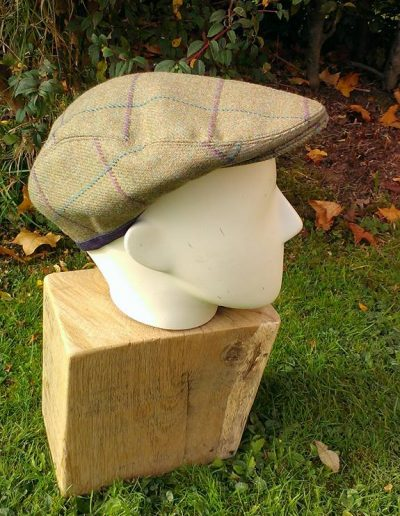 Tweed flat cap purple and teal check