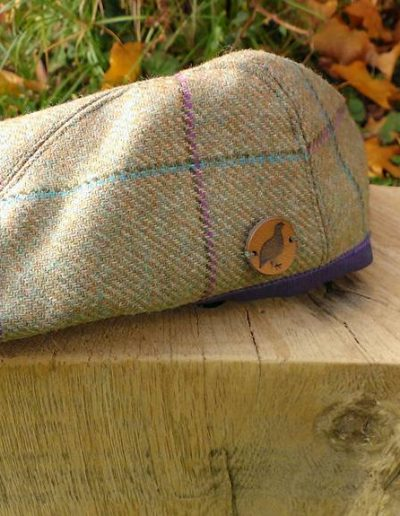 Tweed flat cap, purple and teal check