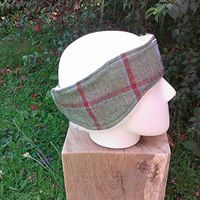 Red check tweed ear warmer
