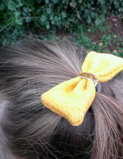 Mustard Harris tweed hair bow