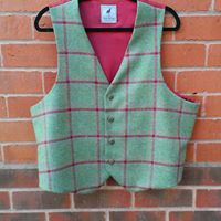 Red check on green background mens bespoke waistcoat