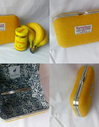 Mustard yellow Harris tweed clutch bag with navy floral lining