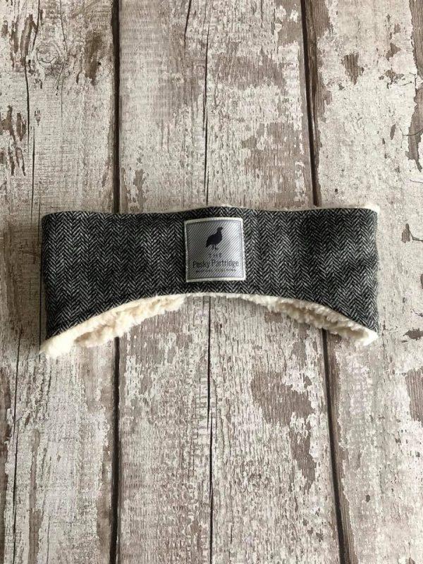 Black and white herringbone tweed ear warmer