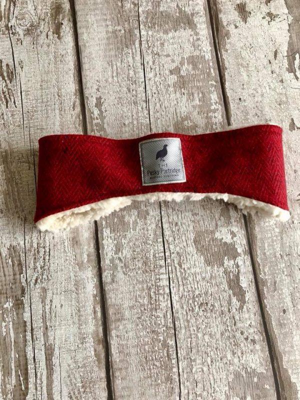 Red herringbone tweed earwarmer